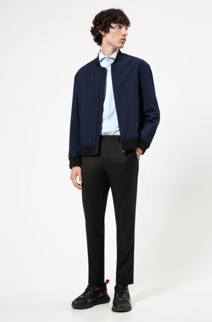 Slim-fit shirt in easy-iron micro-check cotton