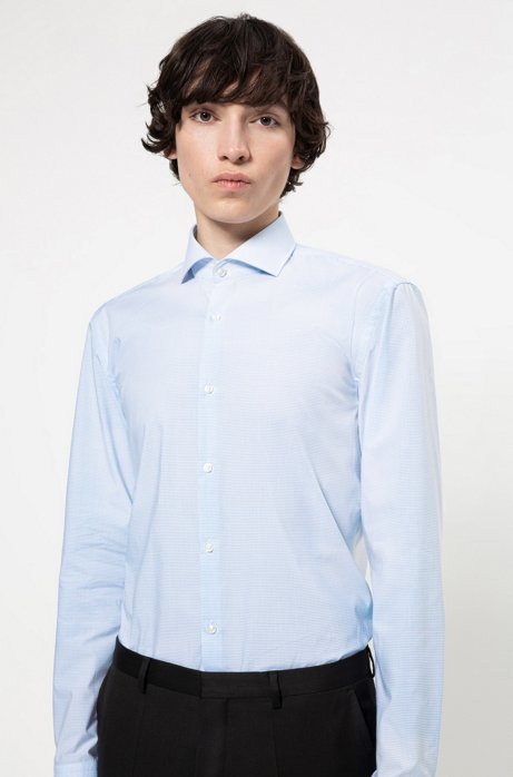 Slim-fit shirt in easy-iron micro-check cotton, Patterned
