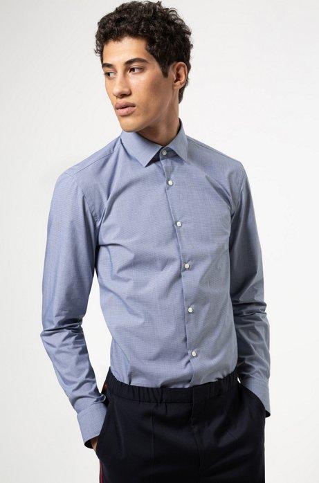 Chemise Slim Fit en coton à microcarreaux, Bleu foncé