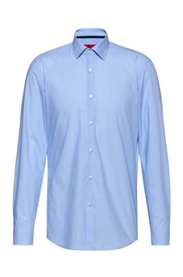 Camicia slim fit in cotone a quadretti, Celeste