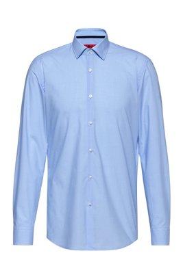 Slim-Fit Hemd aus Baumwolle mit filigranem Karo, Hellblau