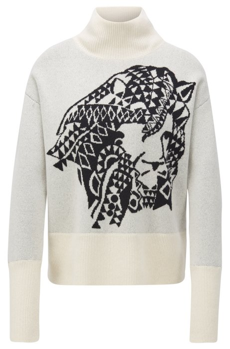 Relaxed-fit sweater in cashmere with jacquard pattern, Patterned