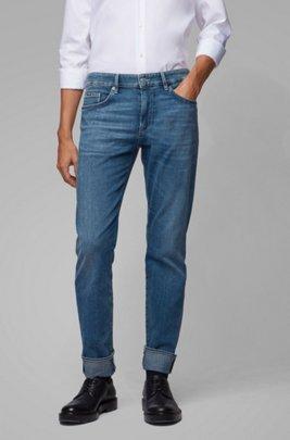 Jeans slim fit in denim italiano effetto cashmere, Blu