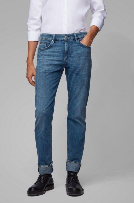 Slim-fit jeans van Italiaans denim met een kasjmierfeel, Blauw