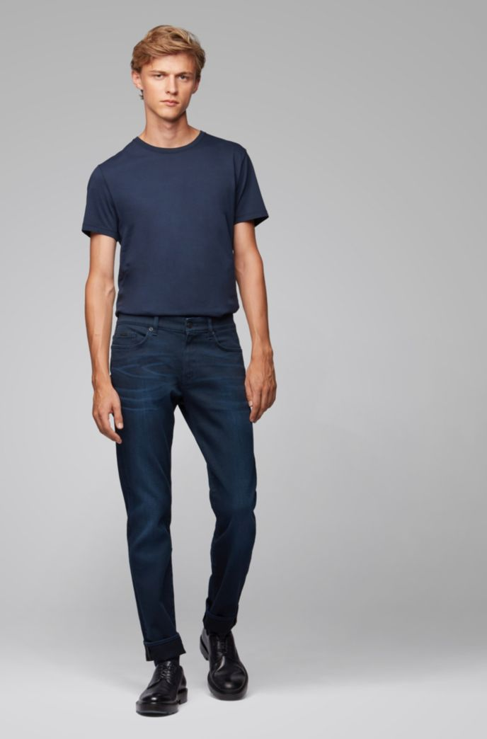 Jeans slim fit in denim elasticizzato blu scuro
