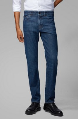 Jeans regular fit in denim elasticizzato ring-spun italiano, Blu scuro