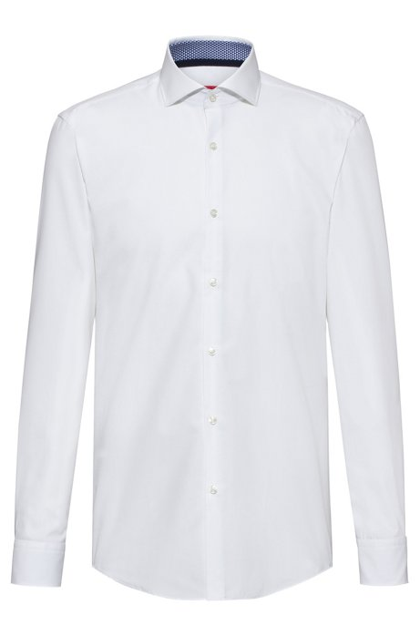 Slim-fit shirt with printed inner trims, White