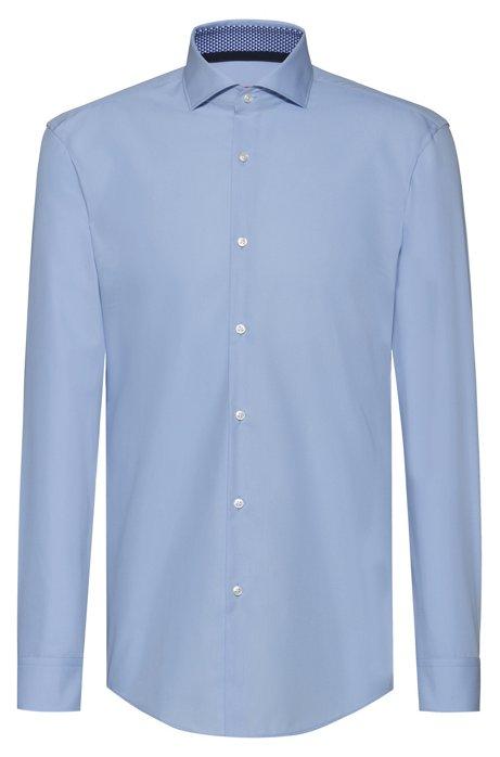 Slim-Fit Hemd mit bedruckten Details innen, Hellblau