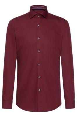 Slim-Fit Hemd mit bedruckten Details innen, Dunkelrot