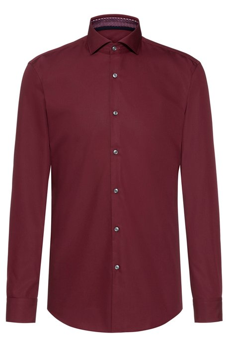 Slim-fit shirt with printed inner trims, Dark Red