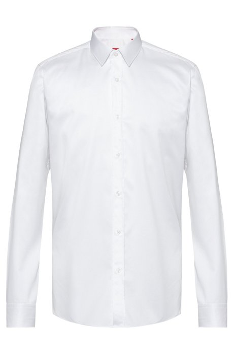 Camisa extra slim fit en sarga de algodón, Blanco