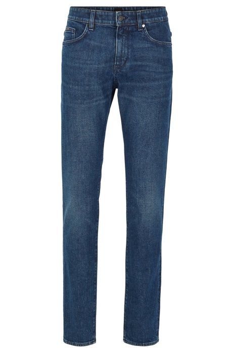 Jeans slim fit in denim italiano ring-spun, Blu scuro