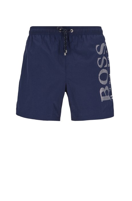 Quick-dry swim shorts with metallic logo print, Dark Blue