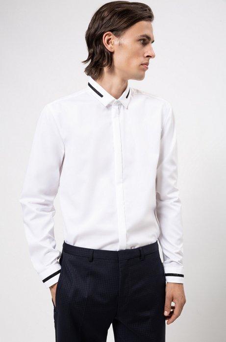 Extra Slim-Fit Hemd aus Baumwolle mit Stardust-Tapes, Weiß