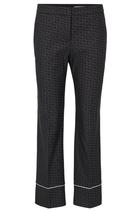 Relaxed-fit trousers with all-over monogram pattern, Patterned