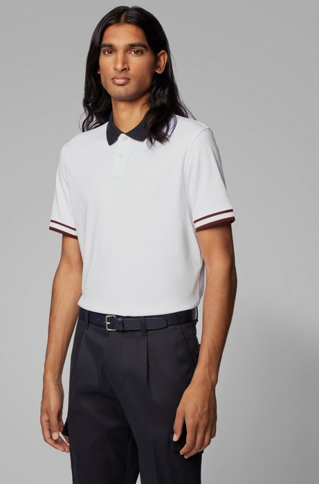 Regular-fit polo shirt with colour-bock stripes, White
