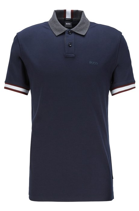 Regular-fit polo shirt with colour-bock stripes, Dark Blue