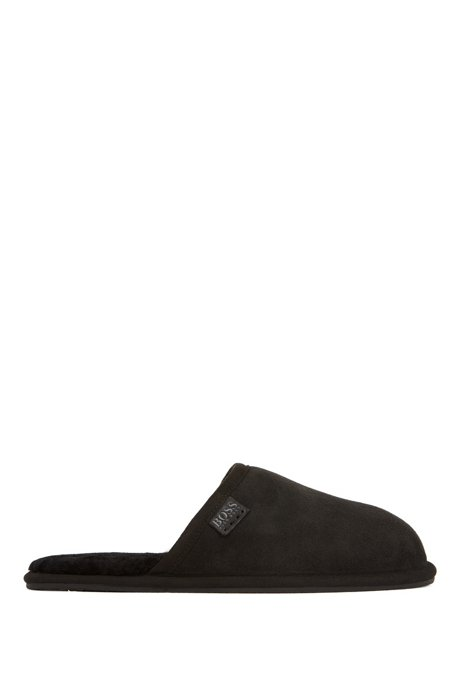 Suede slippers with rubber sole, Black