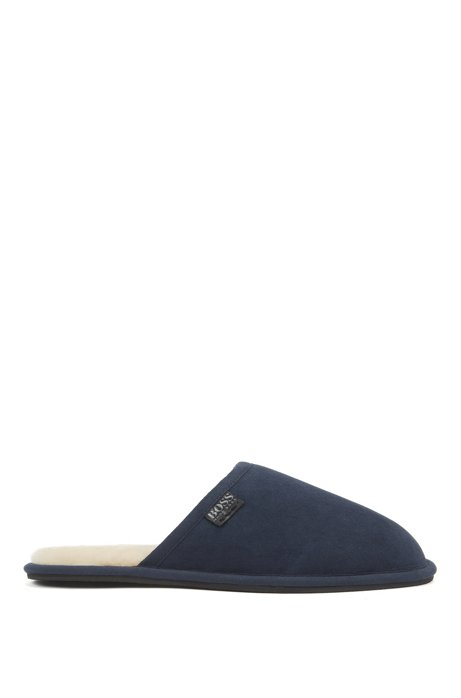 Suede slippers with rubber sole, Dark Blue