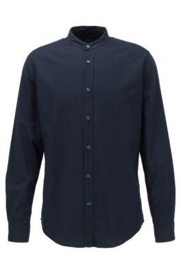 Regular-Fit Hemd aus Oxford-Baumwolle mit Stehkragen, Dunkelblau