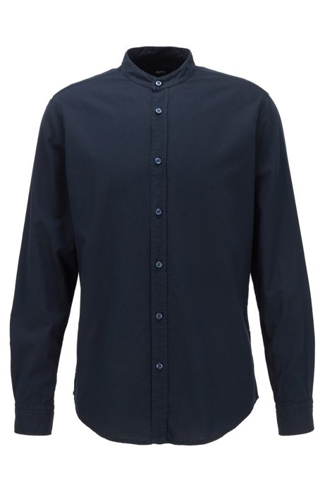 Regular-fit shirt in Oxford cotton with stand collar, Dark Blue