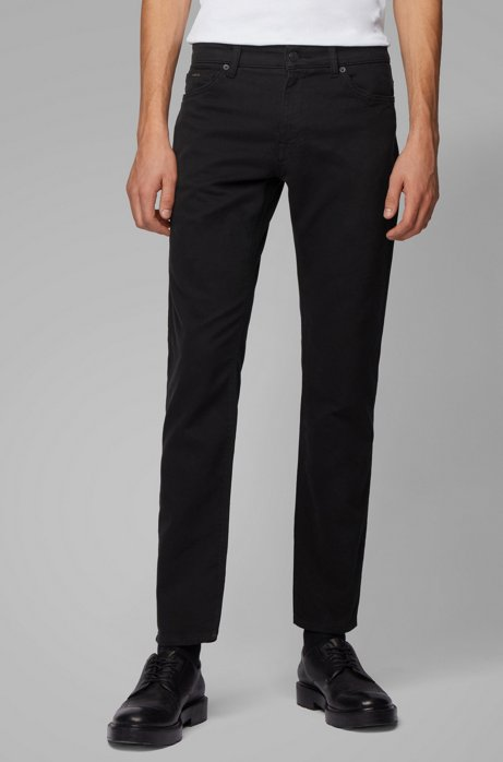 Regular-fit jeans in cotton-blend stretch terry, Black