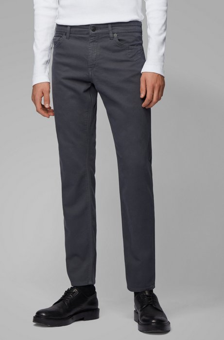 Regular-fit jeans van stretch-sweatstof van een katoenmix, Grijs