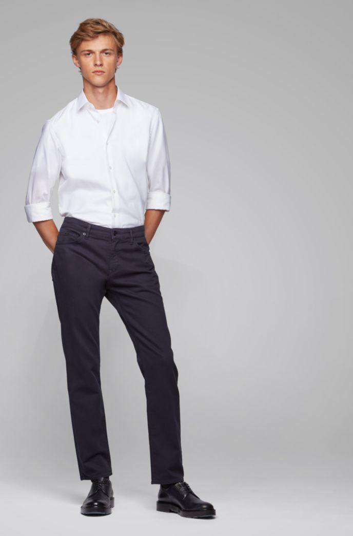 Jeans regular fit in misto cotone terry elasticizzato