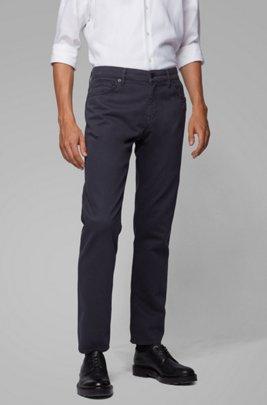 Jeans regular fit in misto cotone terry elasticizzato, Blu scuro
