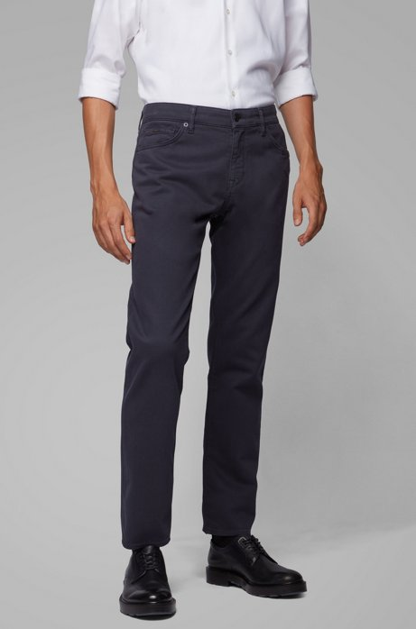 Regular-fit jeans in cotton-blend stretch terry, Dark Blue