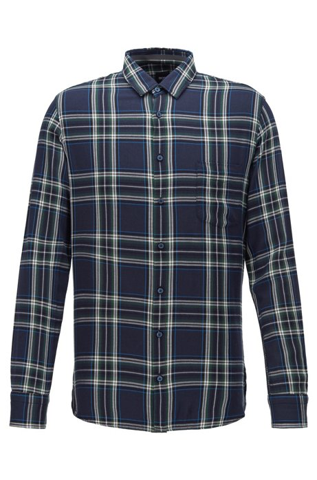 Slim-fit shirt with patchworked checks, Dark Blue
