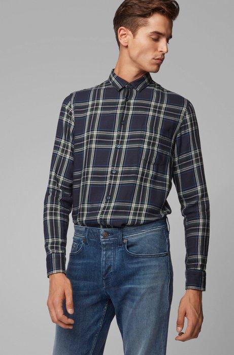 Slim-fit overhemd met patchworkruiten, Donkerblauw