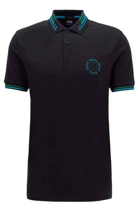 Cotton-piqué polo shirt with circular logo, Black