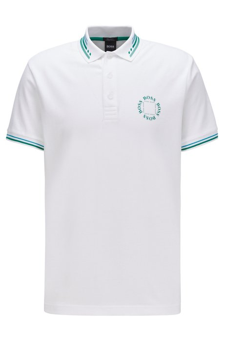 Cotton-piqué polo shirt with circular logo, White