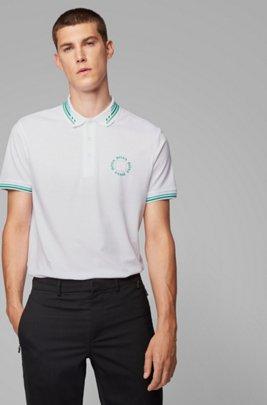 Poloshirt aus Baumwoll-Piqué mit rundem Logo, Weiß