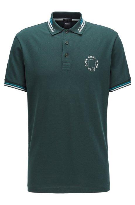 Cotton-piqué polo shirt with circular logo, Dark Green
