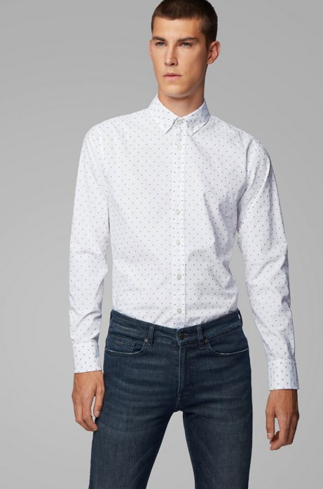 Button-down slim-fit shirt with fil-coupé pattern, White