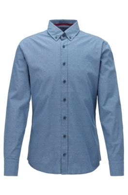 Chemise Slim Fit à motif en fil coupé, avec col à pointes boutonnées, Bleu foncé