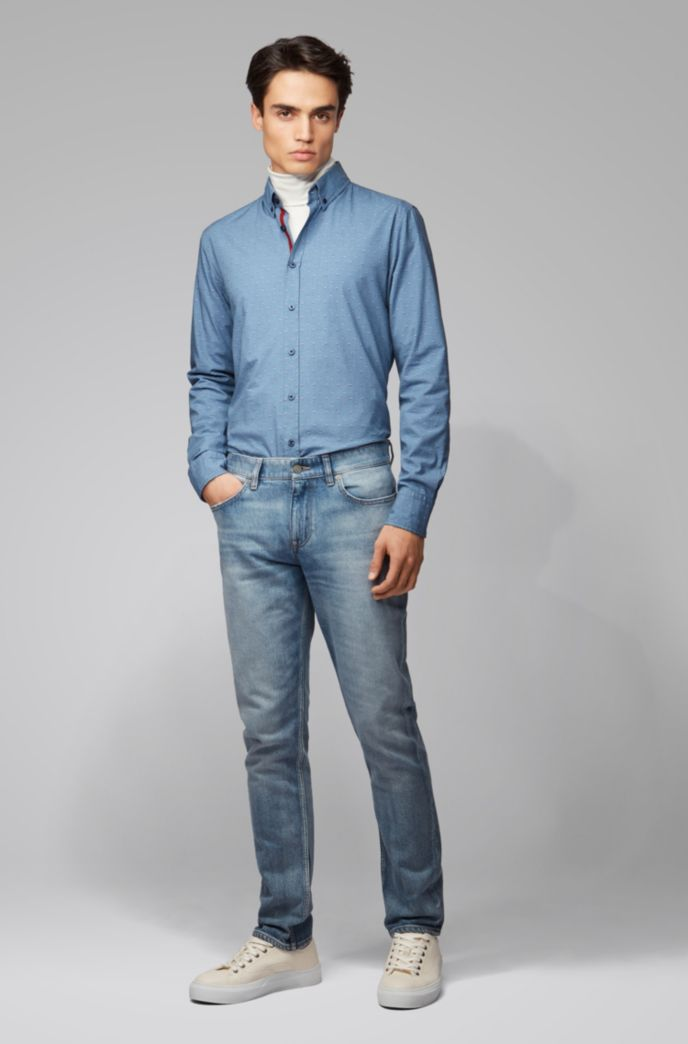 Slim-Fit Hemd aus Stretch-Baumwolle mit Button-Down-Kragen und Fil-coupé-Struktur