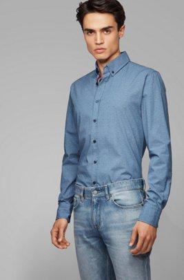 Camisa slim fit con botones y estampado fil coupé, Azul oscuro