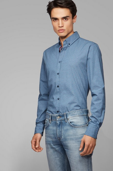 Button-down slim-fit shirt with fil-coupé pattern, Dark Blue
