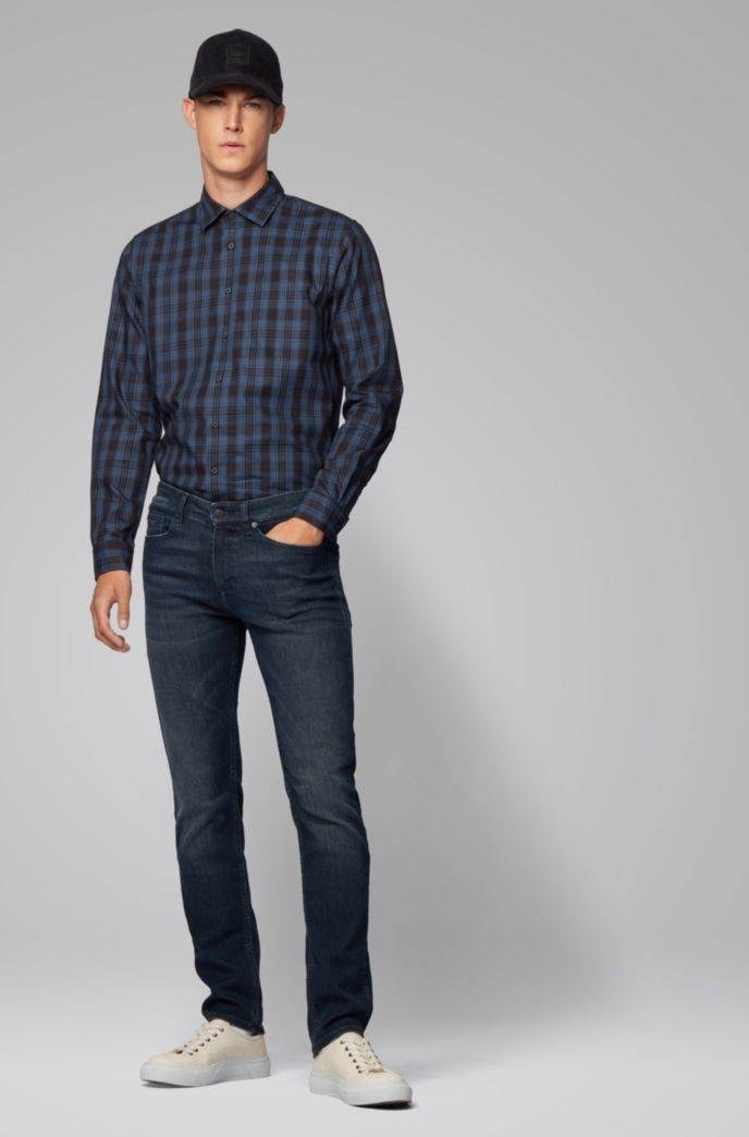 Chemise Slim Fit en twill de coton à carreaux