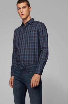 Camisa slim fit en sarga de algodón a cuadros, Azul oscuro