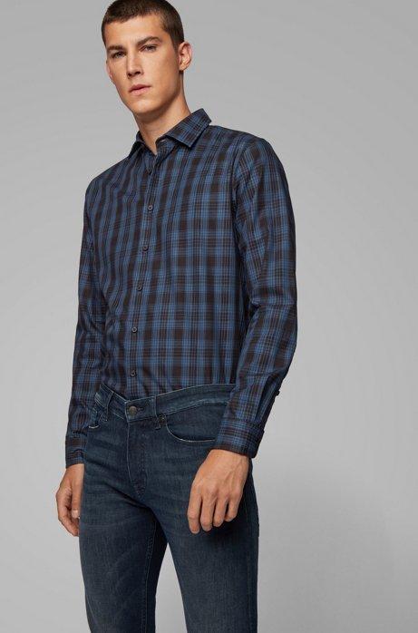 Chemise Slim Fit en twill de coton à carreaux, Bleu foncé