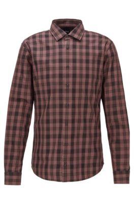 Slim-fit shirt in checked cotton twill, Dark Red