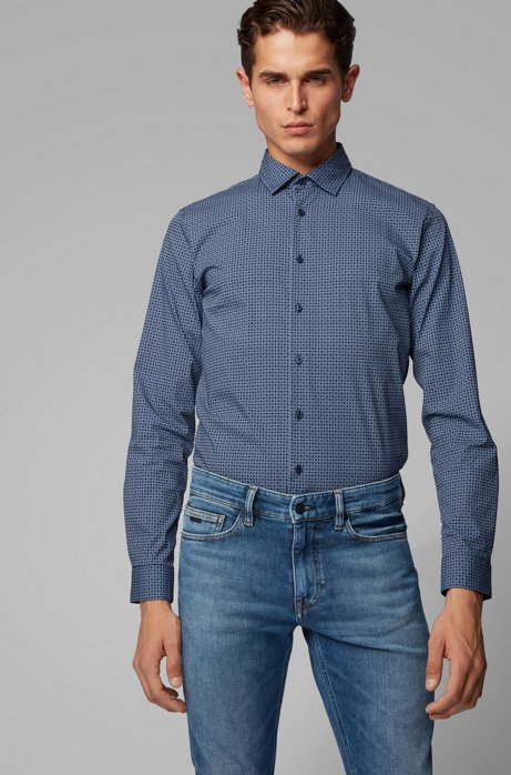 Micro-patterned slim-fit shirt in a cotton blend, Dark Blue