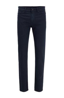 Slim-fit jeans in Italian denim with 3D structure, Dark Blue