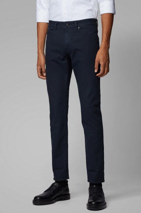 Slim-fit jeans in Italian denim with 3D structure, Dark Blue