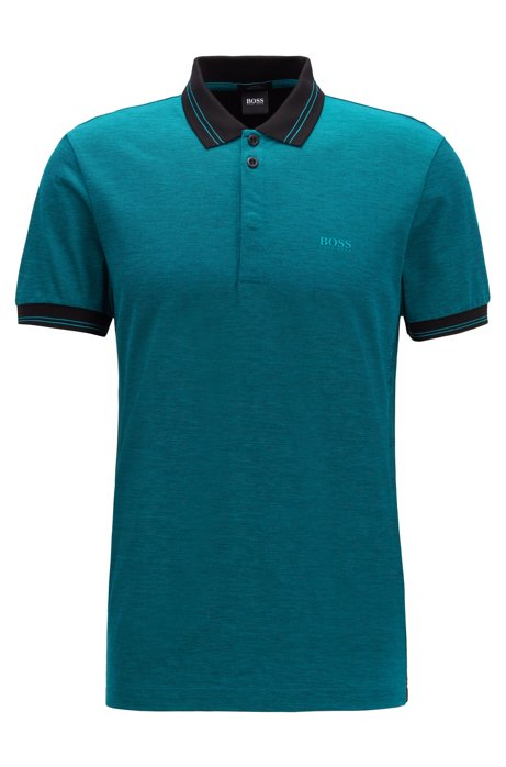 Slim-fit polo met trendy kunstthema, Blauw