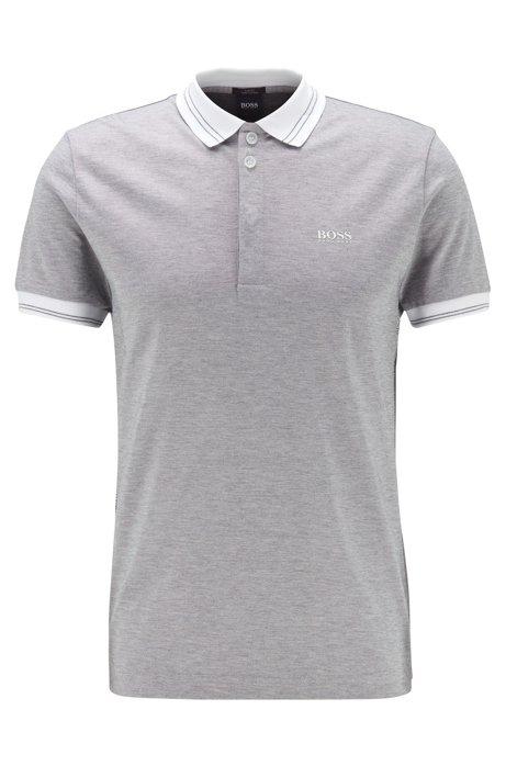 Slim-fit polo shirt with seasonal artwork, Grey